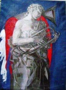 ÎNGERUL CU ARIPI DE JAR - pictură de Adina Romanescu